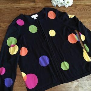 CJ Banks 1X polka dot cardigan sweater cotton